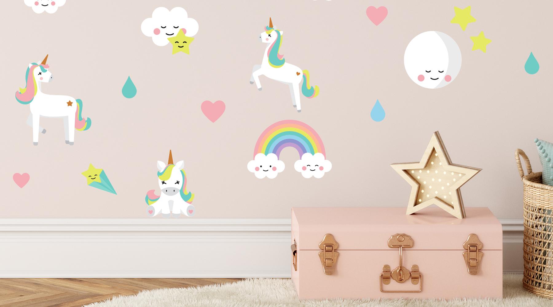 Wallstickers barnerom – enhjørning. Skap magi med veggdekor barnerom.