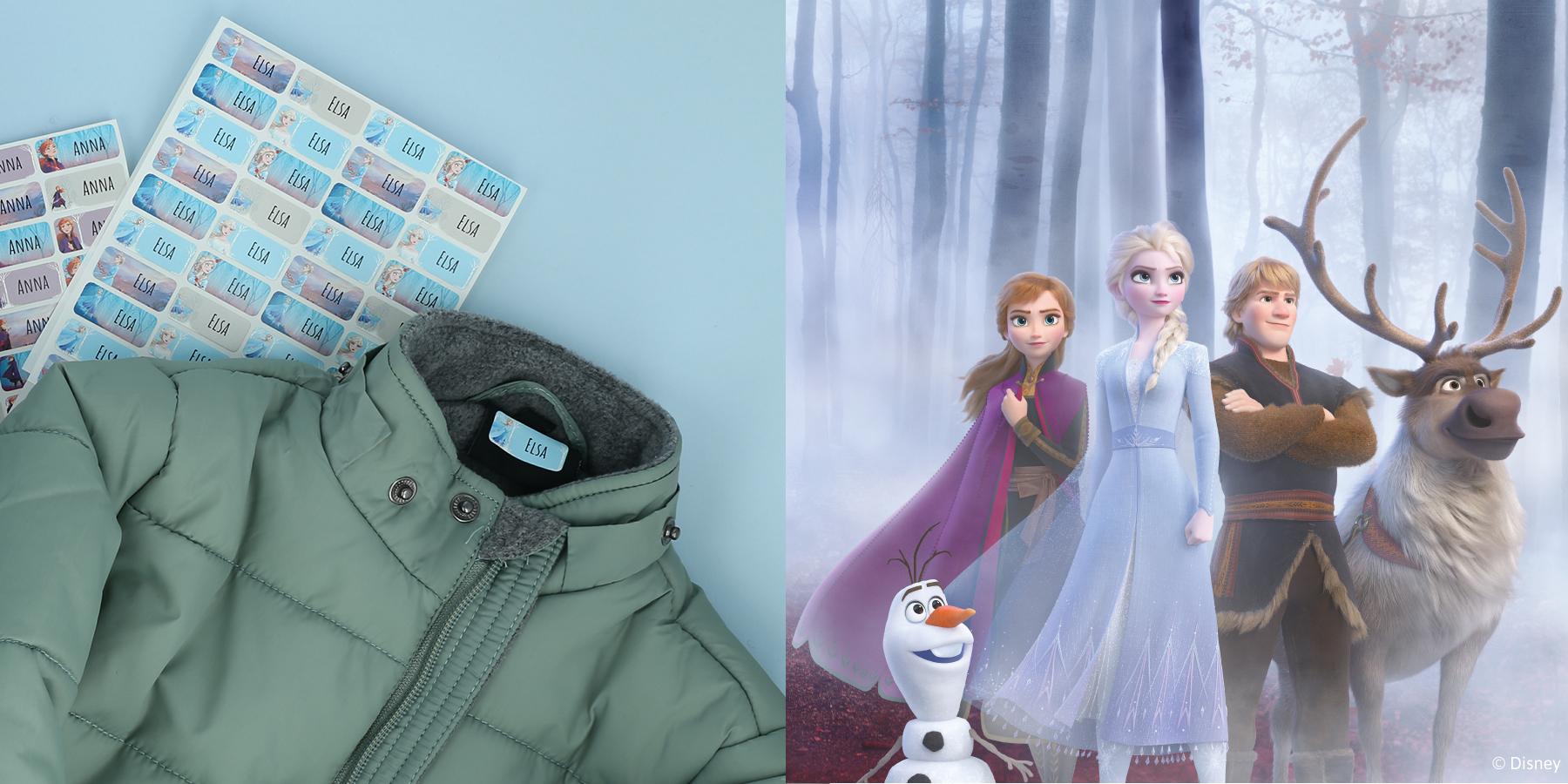 Navnelapper med Frost - Anna og Elsa