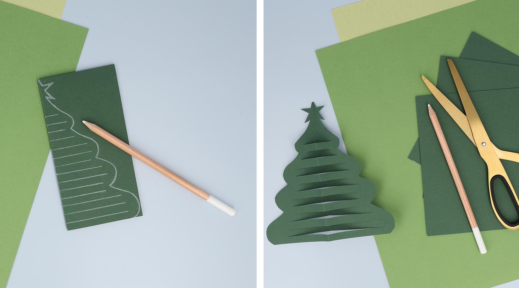 Tegn og klipp et fint juletre