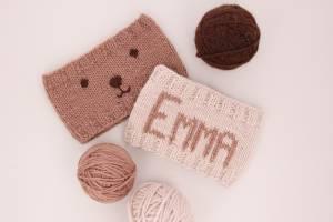 Gratis strikkeoppskrift for nybegynnere: Pannebånd med navn
