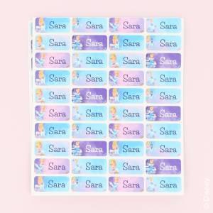 Fargerike navnelapper med Disney prinsesser
