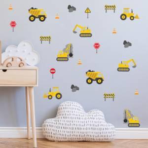 Pynt veggen med kule anleggsmaskiner