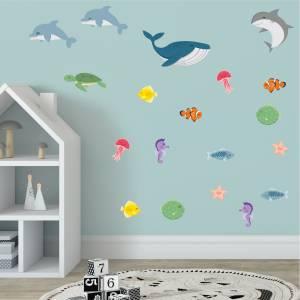 Pynt veggen med sjødyr