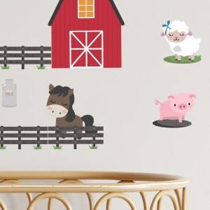 Wallstickers med dyrene på bondegården