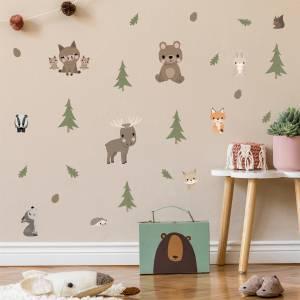 Pynt veggen med søte skogsdyr