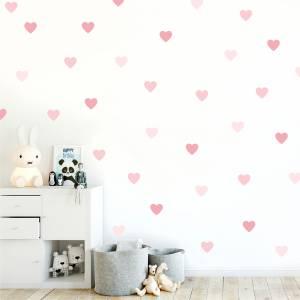 Veggdekor hjerter rosatoner