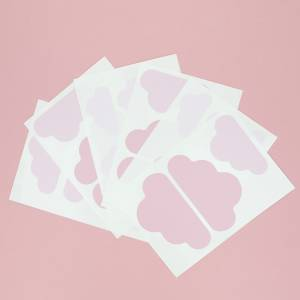 Wallstickers med skyer i rosa